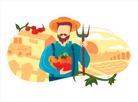 Farmer with harvest. Seeds and crops. Agriculture farm life. Fall autmn summer. Vegetables, fruits and cows. Planting and harvesting. Cartoon flat vector illustration. Working on garden bed. Man farms Stock Illustratie
