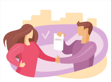 handshake agreement deal concept. Business person partnership contract success. Cooperation communication professional job human. Friendship trust work office partner together. Hiring, hired at work Illustration