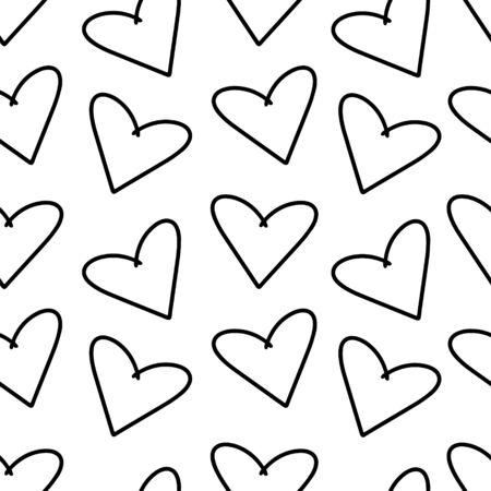 Hand drawn hearts vector seamless pattern