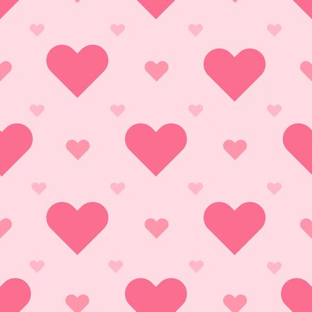 Pink hearts seamless vector pattern