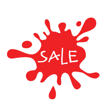 splat: Sale red splat isolated. Sale lettering. Colorful spot