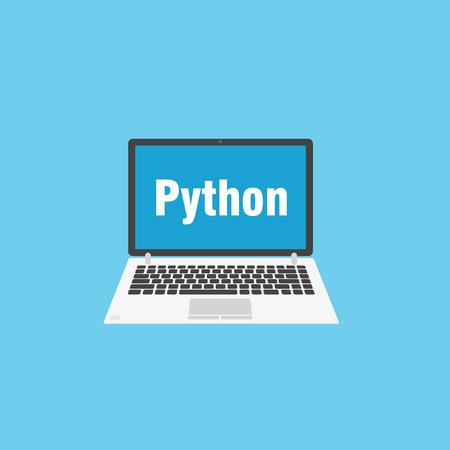 Grey laptop for programming. Python language sign