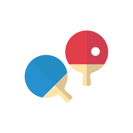 Ping pong isolated flat design. Blue and red rackets with ball Illustration
