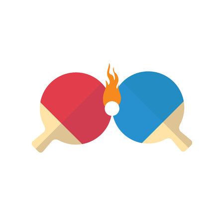 Ping pong battle isolated flat design. Blue and red rackets with ball