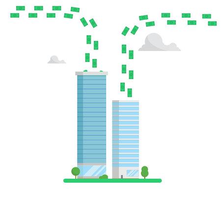 concepto de centro de finanzas de los rascacielos. dinero de aumento aislado