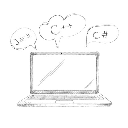 notebook: Hand drawn programming language concept laptop