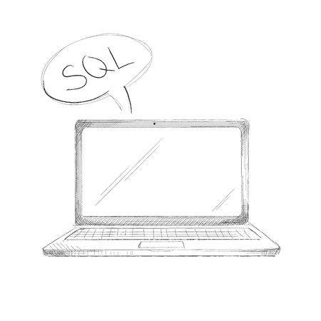 notebook: Hand drawn programming language concept laptop sql