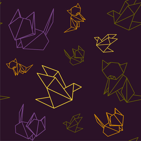 snake origami: Origami animals colorful pattern fox bird horse dog isolated Illustration