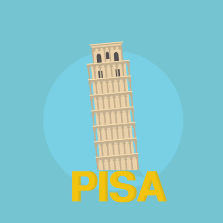 leaning tower of pisa: Pisa tower historic. Flat design travel concept trip italy
