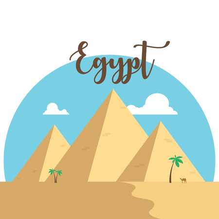 Egypt flat design pyramids. Desert famous ancient camel palms with lettering Illustration