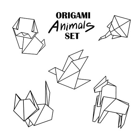 snake origami: Origami animals set. Animals from paper snake, dog, horse, cat, bird fox isolated