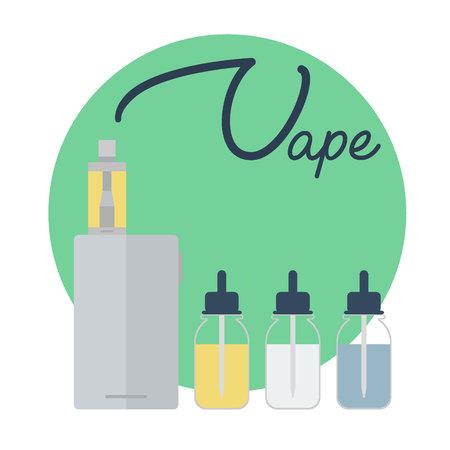 Vape shop concept. Vape with vapor steam lettering isolated