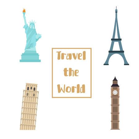 Famous monuments. Big ben statue of liberty pisa paris tower