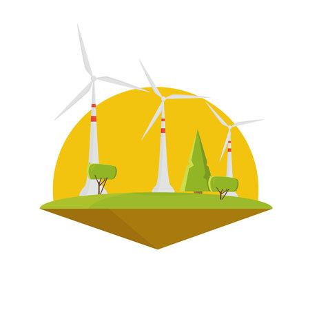 Wind energy power. Turbine electricity flat design Ilustração