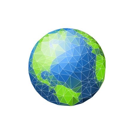 Earth in low poly. Planet green ocean