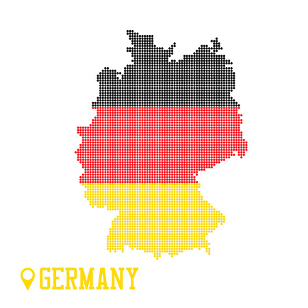 Germany dotted map. Colorful flag nation yellow red black Ilustração