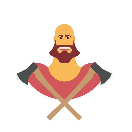 Lumberman bold man with beard. Strong cartoon with axe