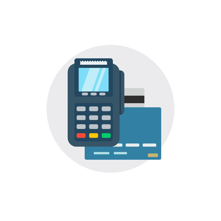 Terminal bank payment. Card pay credit shopping