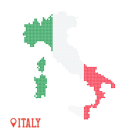 Italy dotted map. Green red white flag colors Ilustração