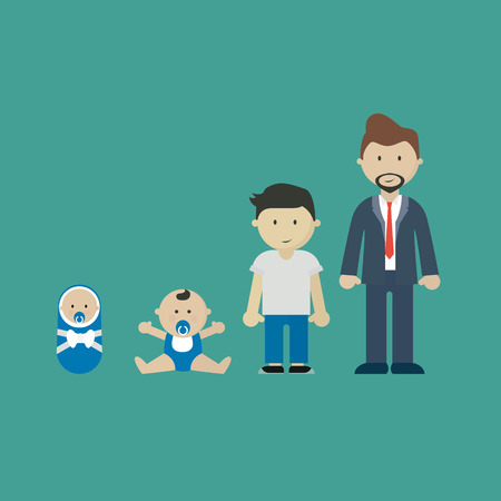 People growing. Generations characters age adult stages Ilustração