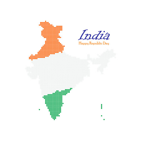 India dotted map. Independence day. Map silhouette isolated