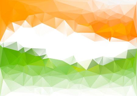 Indian flag low poly background. Orange green white