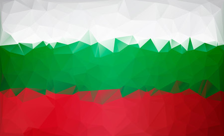 Bulgarian flag low poly. White green red flag