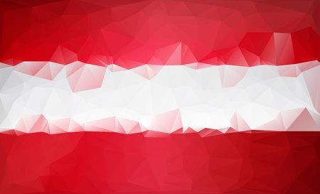 Polygonal background. Austria low poly flag triangles style Ilustração