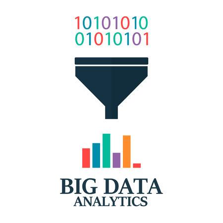 Big data analitics. Filter data. Processing find pattern technology. Information structure Ilustração