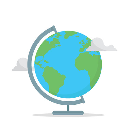 School globe concept. Back to school. Earth with clouds Ilustração