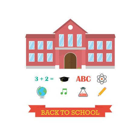 Back to school concept. School building with icon set. Globe music hat graduation pencil atom music