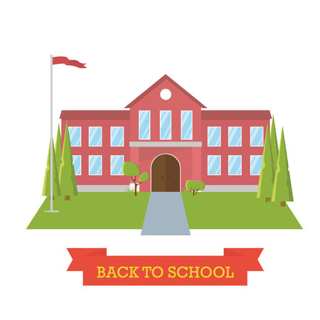 Back to school concept. School yard with trees and flag. Education. Flat design building Ilustração