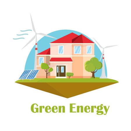 Eco house. Solar wind energy. Green energy concept. Ecology flat design building