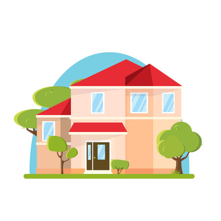 Flat design big house with trees. Building isolated with green tree