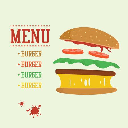 Burger concept. Menu with burger ingredients. Flat design junk food Ilustração