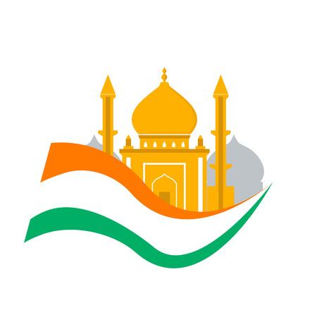 India travel. Independence day india. Flag with palace isolated. Tourism. Traditional Ilustração