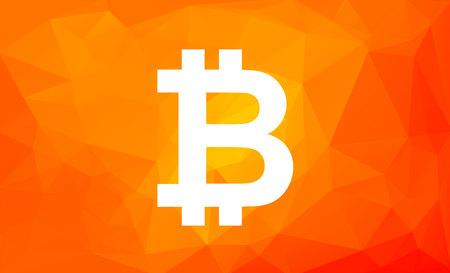 Bitcoin sign on low poly orange background. Cryptocurrency symbol digital Ilustração