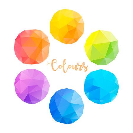 Low poly circles with different colours Ilustração