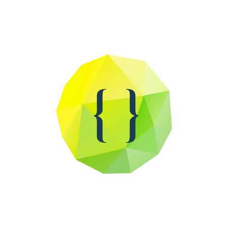 bracket: Brackets on low poly background. Coding sign symbol