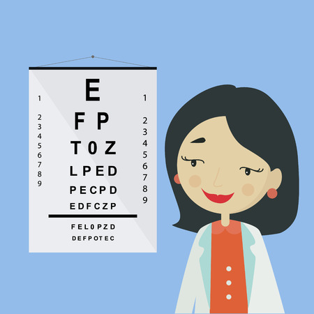 Eye doctor. Ophthalmologist woman character in uniform isolated