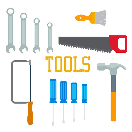 Flat tools. Hammer, screwdriver saw brush with lettering isolated Ilustração