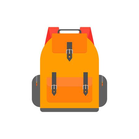 Orange back pack for study. Schoolbag illustration design