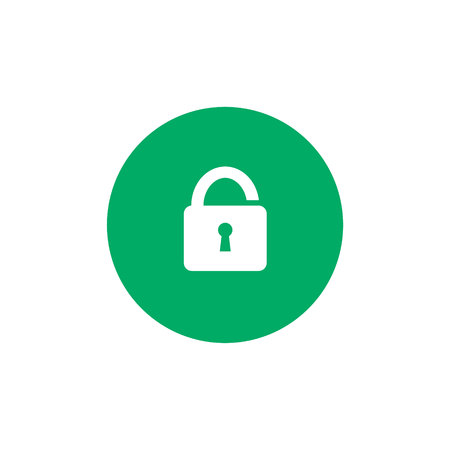 Simple lock icon on green circle background. Security concept. Unlocked