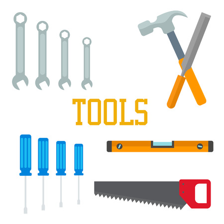Flat tools. Hammer, screwdriver saw chisel, wrench with lettering Instrument