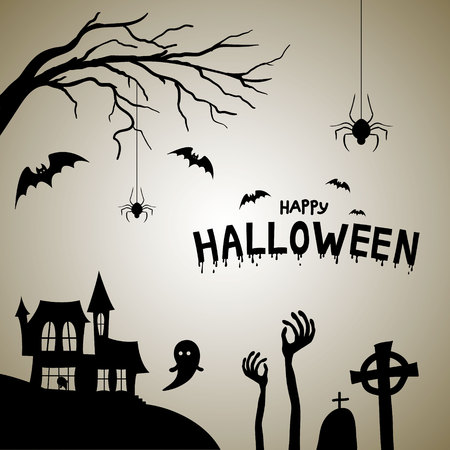 Happy halloween post card. House with cemetery silhouette with bats and spiders
