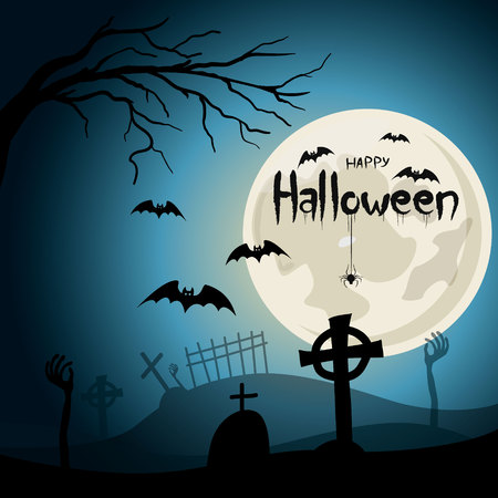 Halloween background. Graveyard with crosses and zombie hands at nigth.