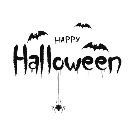 Happy halloween concept. Post card background. Bats spiders and scary text