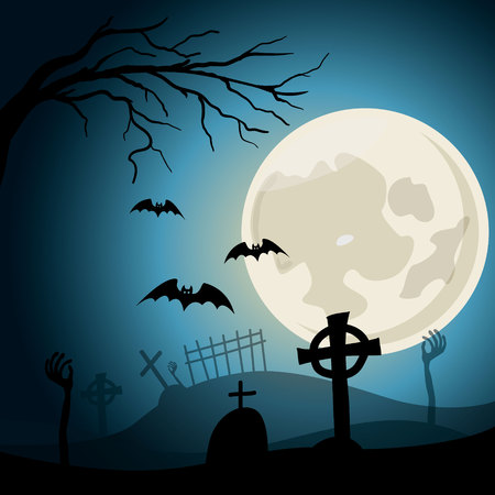Halloween background. Graveyard with crosses and zombie hands at nigth. Full moon Ilustração