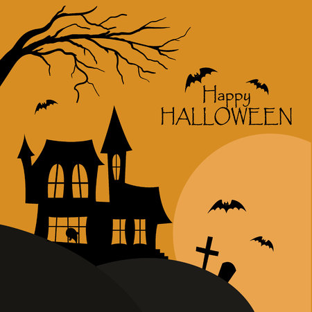 Happy halloween post card. House with cemetery silhouette with bats Ilustração