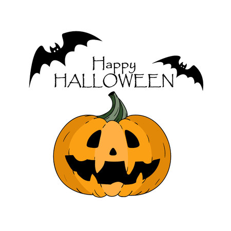 Happy halloween concept. Bats. Pumkin with scary face and lettering hand drawn